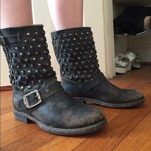 Black Stidded Frye Boots